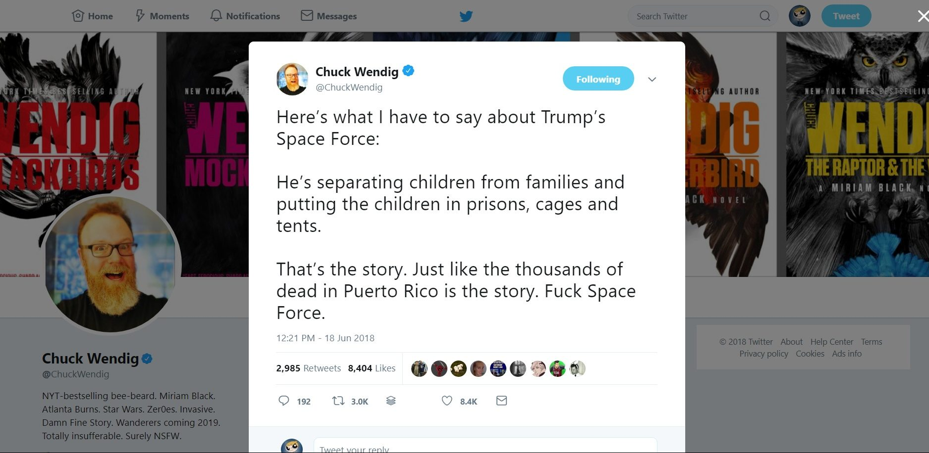 Chuck Wendig On Trump's 'Space Force'