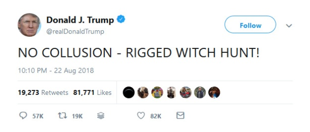 @realDonaldTrump: NO COLLUSION - RIGGED WITCH HUNT!