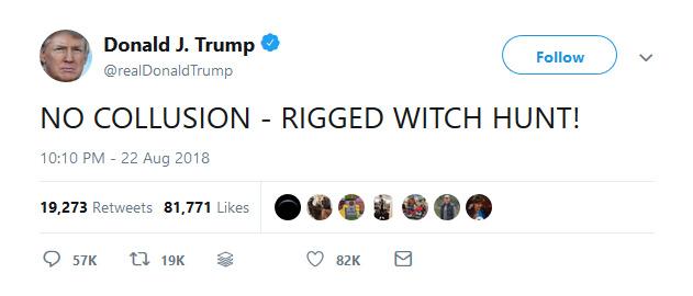 @realDonaldTrump: NO COLLUSION - RIGGED WITCH HUNT!