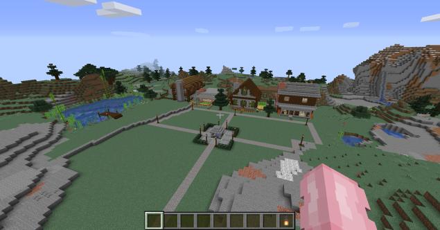 Minecraft: Little mountain village.