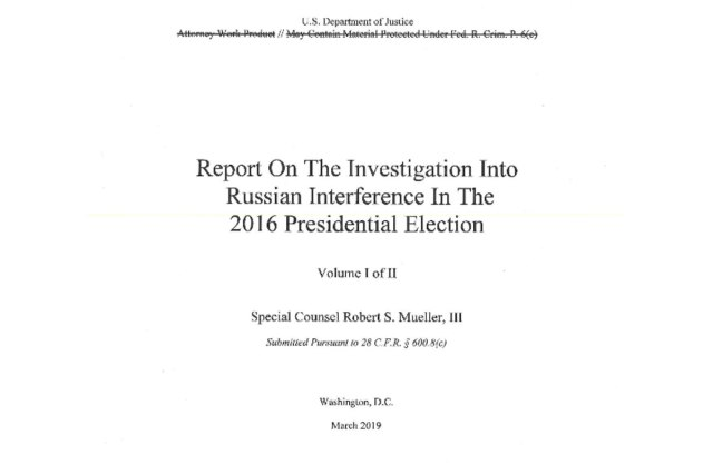 The Mueller Report – redacted by William Barr – isout.