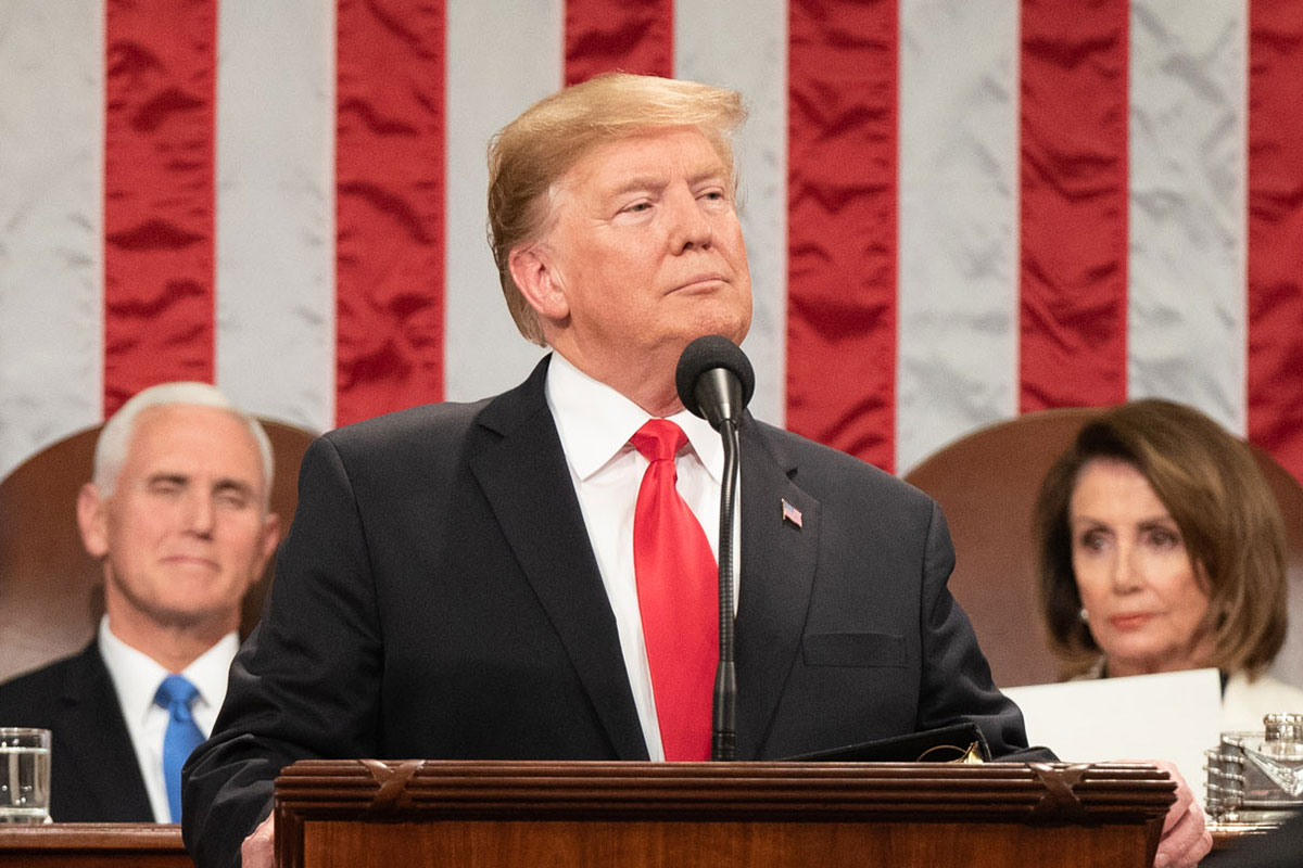 President Donald Trump delivers his State of the Union address at the U.S. Capitol, Tuesday, Feb. 5, 2019, in Washington, D.C. Vice President Mike Pence and Speaker of the House Nancy Pelosi sit behind him. (Official White House Photo by Shealah Craighead)