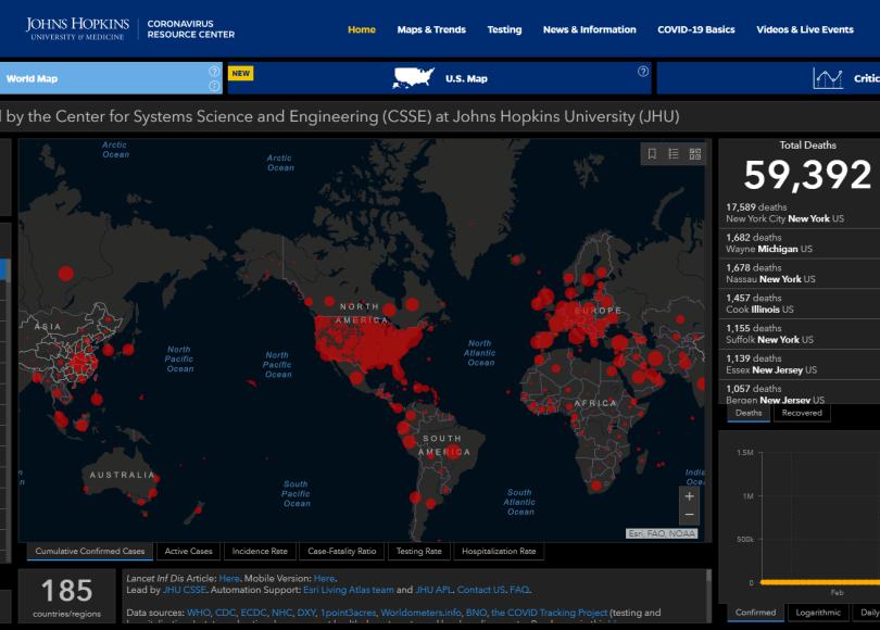 Johns Hopkins Pandemic Dashboard - United States - 4/29/20, 11:30am