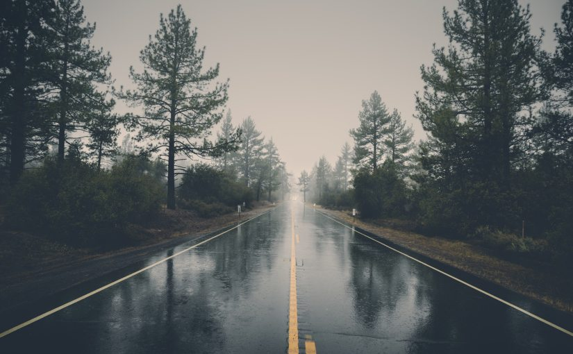 Pexels - Rain on an empty, foggy highway.