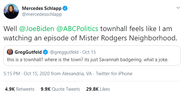 Mercedes Schlapp on Twitter comparing Joe Biden's town hall performance to Mr. Rogers pejoratively.