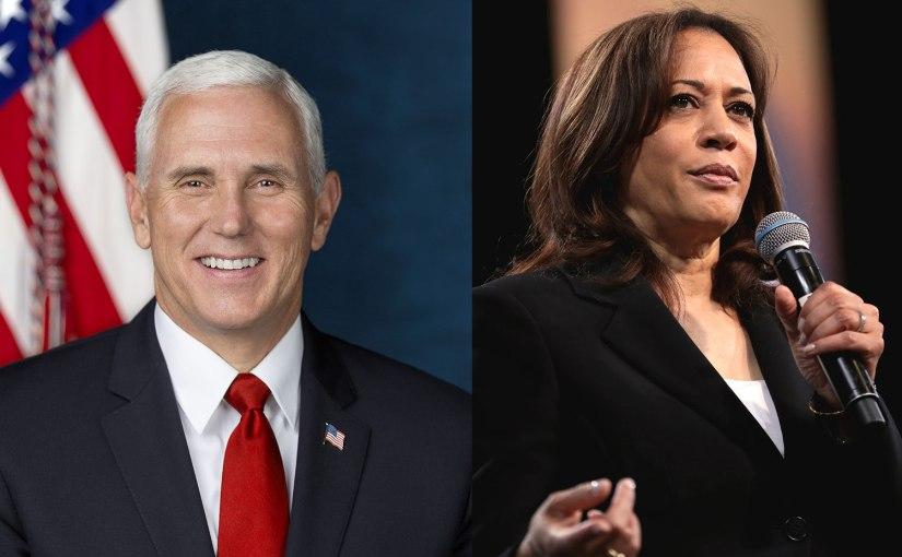 Left, Mike Pence; right, Kamala Harris