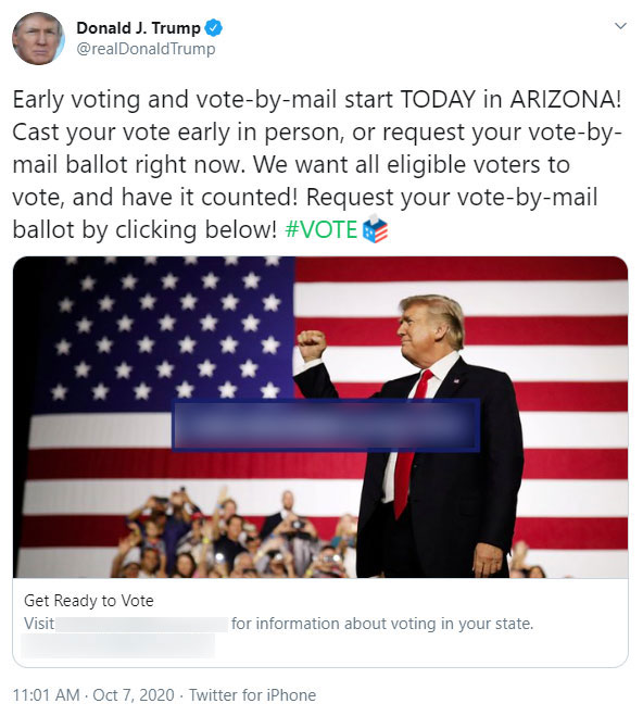 Trump tweet on vote-by-mail, 10/7/2020