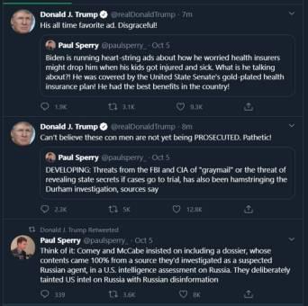 Trump tweets & retweets, 10/6/20