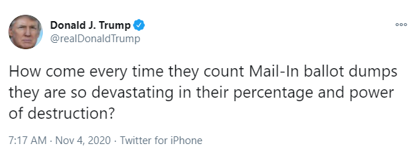 Trump tweet: How come every time they count Mail-In ballot dumps they are so devastating in their percentage and power of destruction?