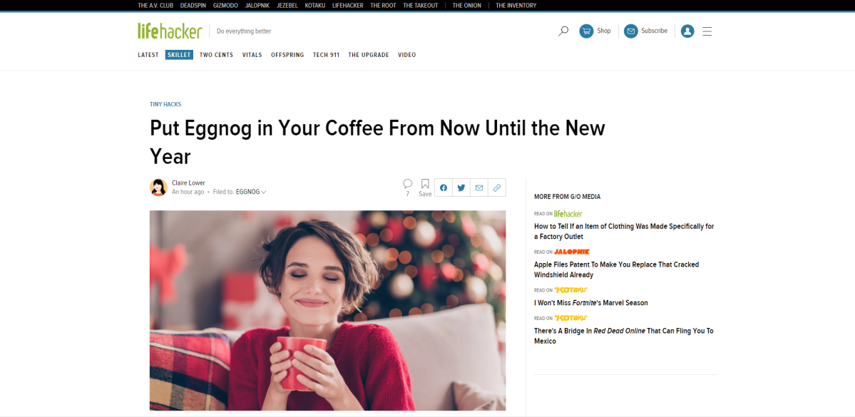 Screencap - Lifehacker article about eggnog in coffee