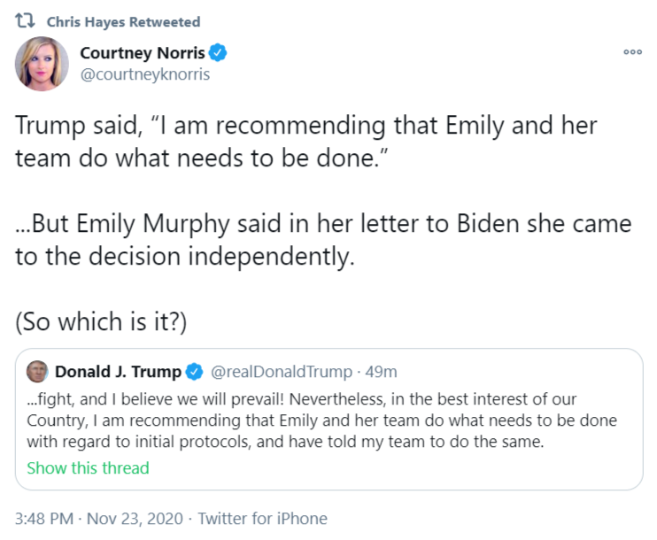 GSA Emily Murphy approves the Biden transition.