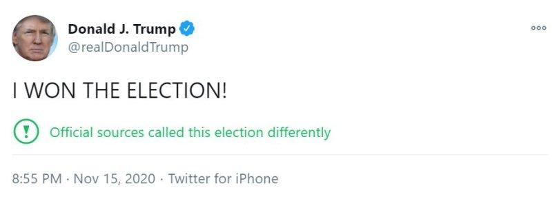 Trump tweet, allcaps, I WON THE ELECTION