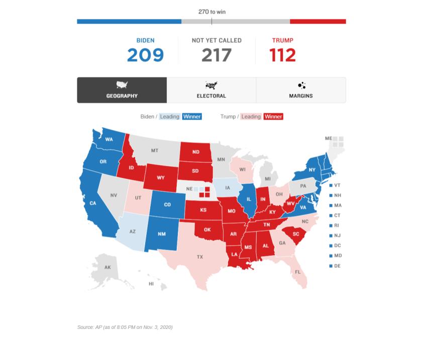 NPR electoral map on Nov. 3 at 8:03pm