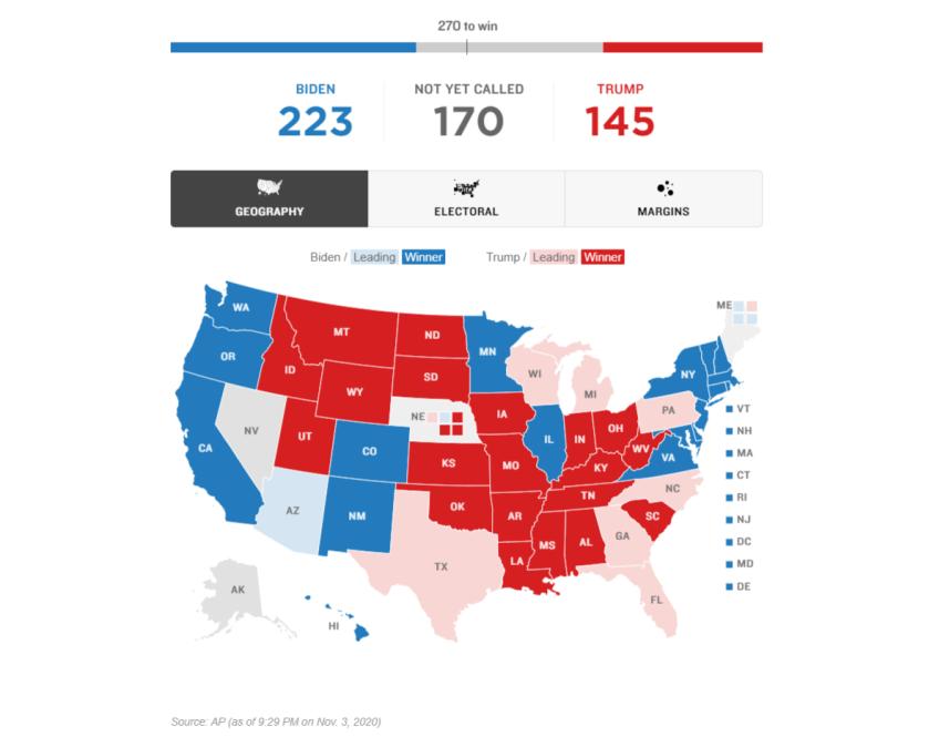 NPR's electoral map at 9:30pm, Nov. 3