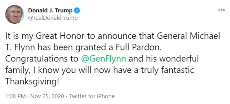 Trump pardons Gen. Flynn on Twitter.
