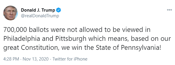 Trump tweet, lying about the election yet again.