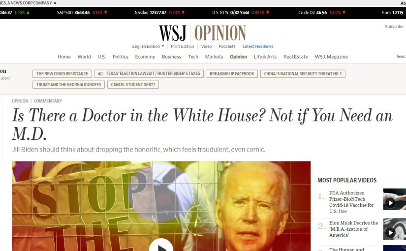 WSJ article showing title of opinion by Joe Epstein, 'Is there a doctor in the White House? Not if you need an M.D.'