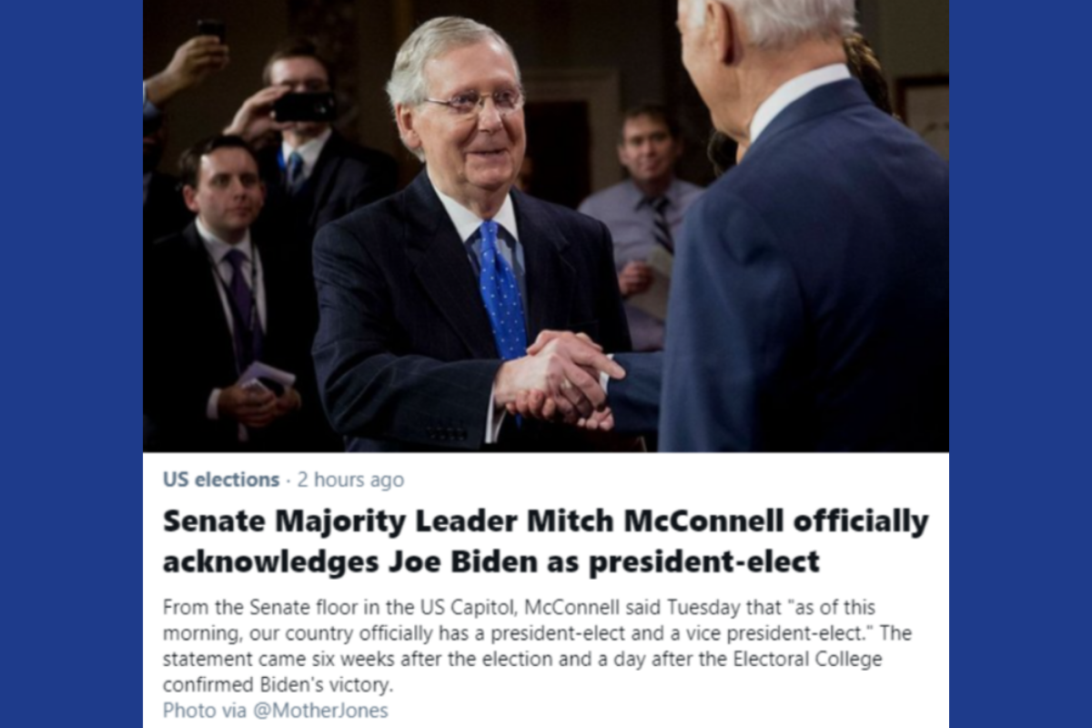 Moscow Mitch Acknowledges Biden as president-elect.