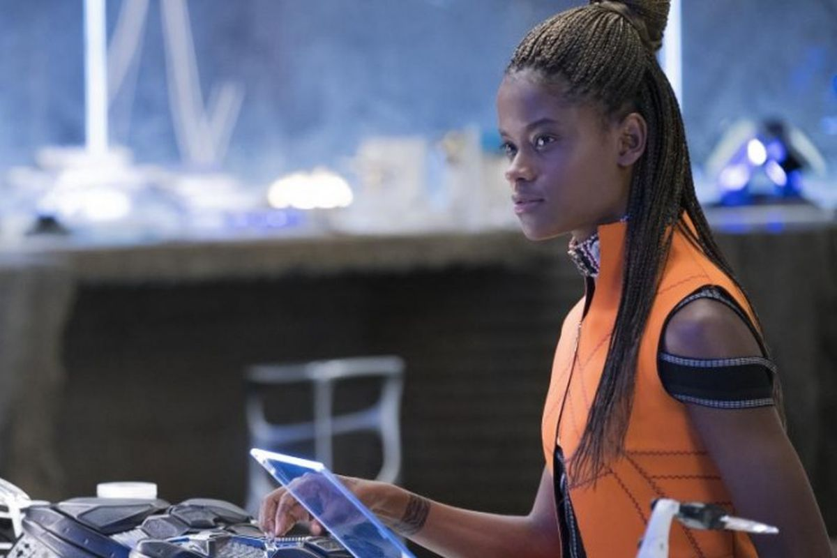 Screencap from Black Panther showing Letitia Wright as Shuri