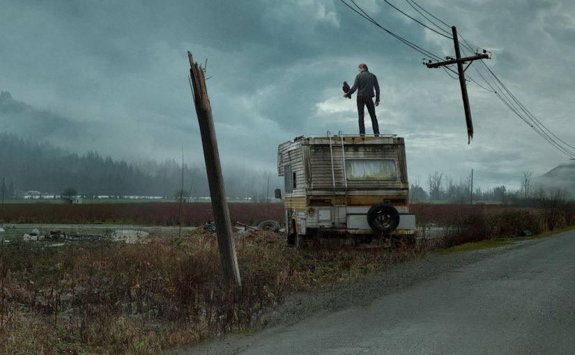 CBS - The Stand - Randall Flagg stands on a busted RV with a crow.