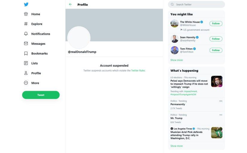Screenshot of Trump's suspended Twitter account