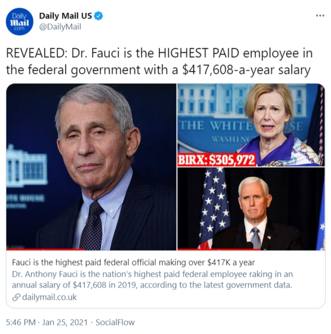 Daily Mail tweet about how much Dr. Fauci is paid.