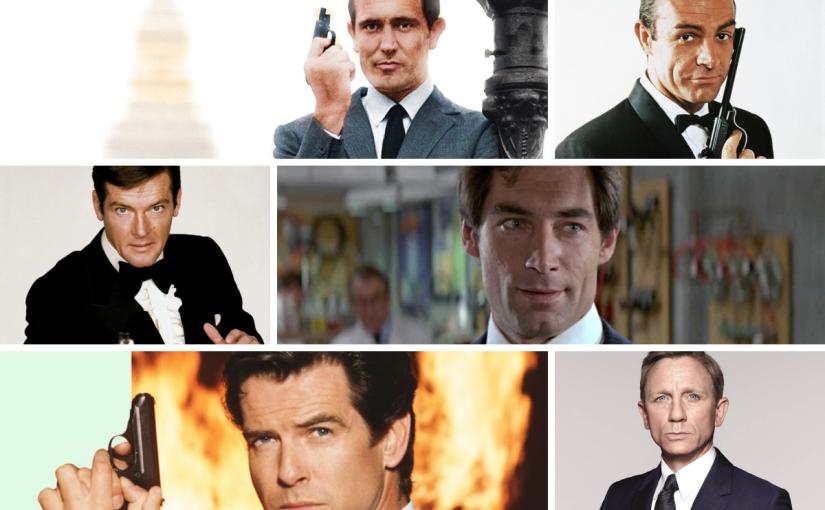Sean Connery, George Lazenby, Roger Moore, Timothy Dalton, Pierce Brosnan, & Daniel Craig as James Bond