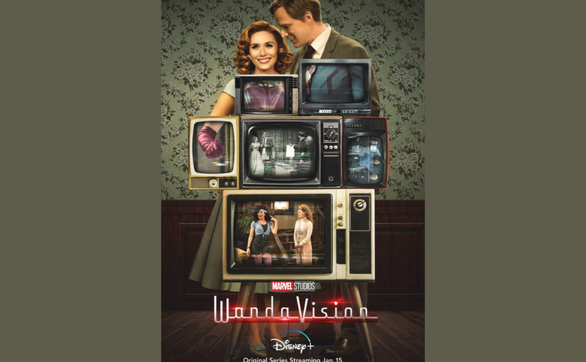 WandaVision Poster showing Wanda & Vision in his human form standing behind a stack of old fashioned TVs, & each TV screen shows a section of their bodies from a different era.