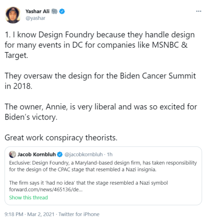 Tweet by Yashar Ali talking about how the CPAC stage was an accident, apparently