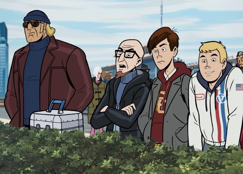 The Venture Bros. - Screencap showing Brock, Dr. Venture, Dean, Hank, & more on rooftop patio
