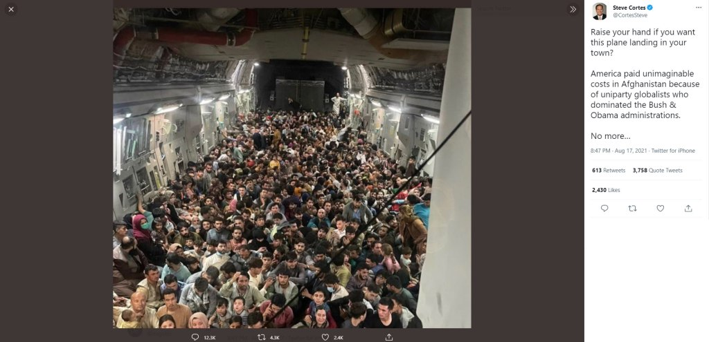 """Steve Cortes, Newsmax host, tweets, """"Raise your hand if you want this plane landing in your town? America paid unimaginable costs in Afghanistan because of uniparty globalists who dominated the Bush & Obama administrations. No more..."""" along with a photo of a plane that crowded with Middle Eastern people."""