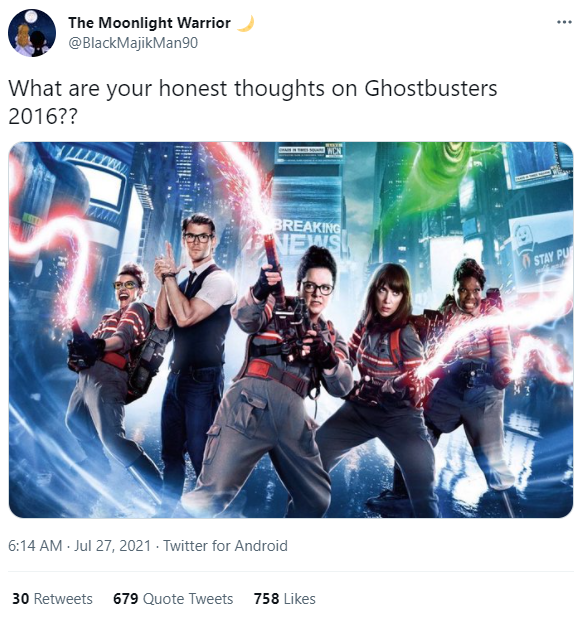 @BlackMajikMan90: What are your honest thoughts on Ghostbusters 2016?? - Twitter screenshot